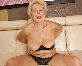 Sexy grandma gets her beaver wet