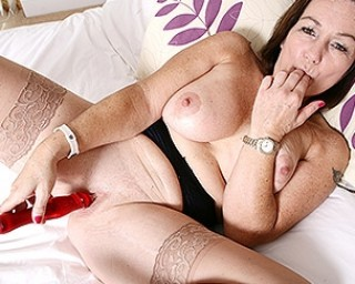 Hot big breasted British housewife playing with herself