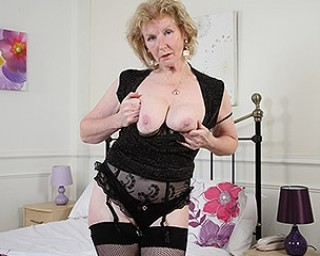 Horny British housewife playing with her pussy