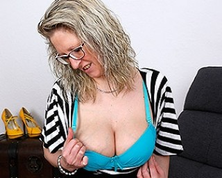 Big breasted German housewife playing with herself