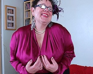 Huge breasted British mature BBW playing all by herself