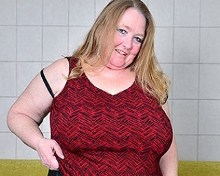 Big breasted mature BBW playing with her pussy