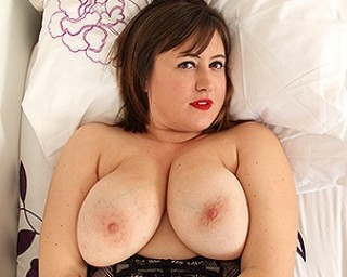 Big breasted British housewife getting wet and wild