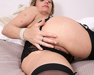 Cute British housewife playing with herself