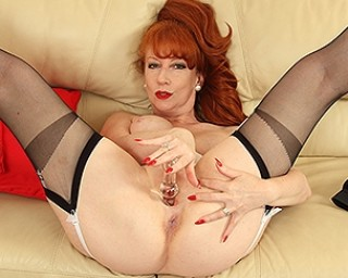 Horny hot British housewife playing with herself
