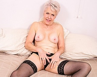 Naughty mature Lady Sextasy playing with her pussy