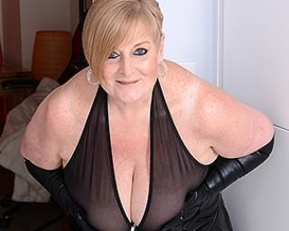 Naughty British mature BBW showing off her big tits
