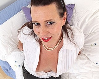 Naughty housewife getting wet on her toy