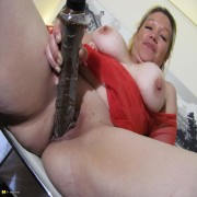 Horny mature mama playing with her moist pussy