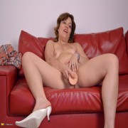 Horny housewife grinding on the couch