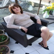 Naughty housewife playing in the garden house