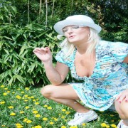Housewife getting frisky in the garden