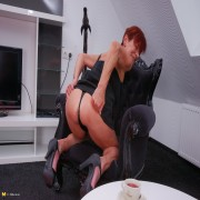Naughty European housewife taking a special time for herself