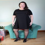 Chubby British mature lady teasing and showing off