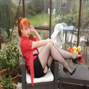 Hot Red British housewife playing alone