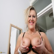 Hairy British housewife playing alone