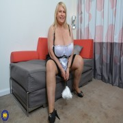 Huge breasted housewife playing with herself