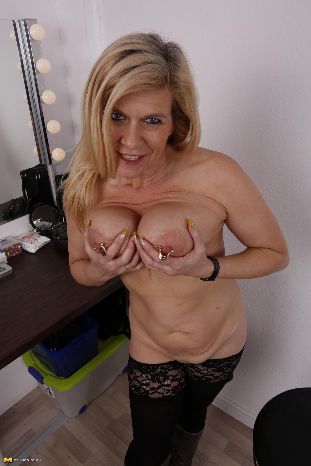 Blonde Milf Pierced Pussy