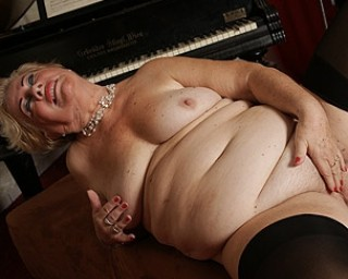 Horny grandma plays her own kind of music