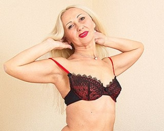 Horny blonde mom playing with herself