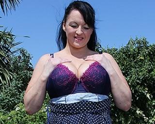 Hot British housewife masturbating outdoors