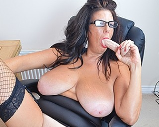 Horny British housewife shows off great rack