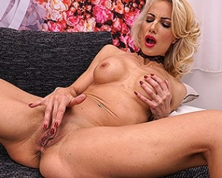 Hot blonde MILF playing with her pussy