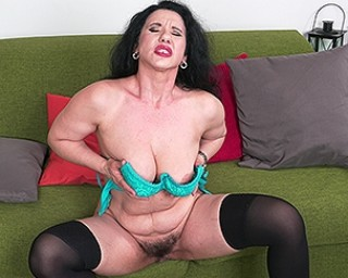 Hairy housewife playing with her pussy