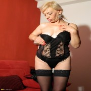 Blonde housewife playing with her plastic best friends