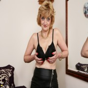 Naughty British lady playing with her self