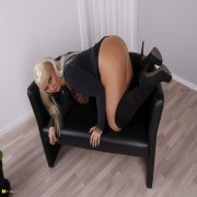 Naughty big breasted German housewife playing with herself
