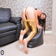 Huge breasted British housewife loves playing alone