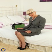 Naughty British mature Elaine playing with her pussy